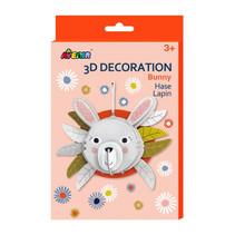 knutselset 3D konijn junior karton grijs 5-delig