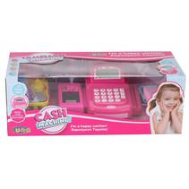 speelgoedkassa met weegschaal 41 x 18 cm roze 21-delig