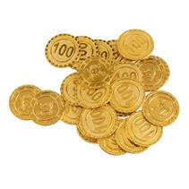 munten Piraat junior 3,2 cm polypropyleen goud 24-delig
