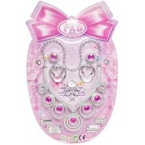 sieradenset prinsessen 3-delig zilver/roze