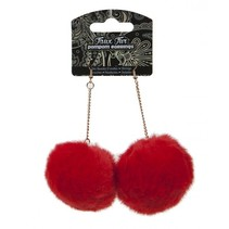 oorbellen pompom rood 4 cm