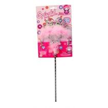 Tiara met toverstaf roze