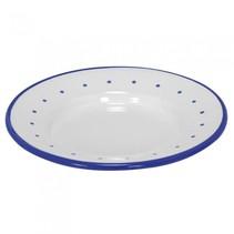 bord wit/blauw metaal junior 16 x 16 cm