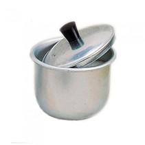 suikerpotje met deksel zilver aluminium 6 x 7 cm