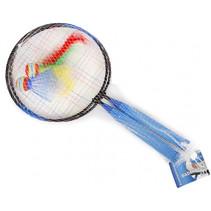 badmintonset met shuttle 44 x 22 cm blauw 4-delig