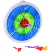 dartbordset junior 23,5 cm wit/blauw 7-delig