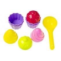 strandspeelgoed cupcakes 9-delig multicolor 4 cm