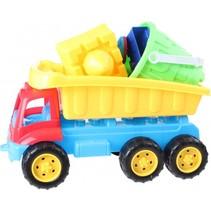 vrachtwagen met strandset blauw/rood 35 cm 7-delig