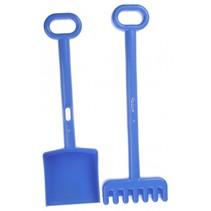 schep en hark 30 cm blauw
