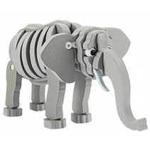 3D puzzel olifant junior 31,5 cm foam grijs 75-delig