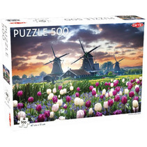 legpuzzel tulpen en molens 47 x 31 cm 500 stukjes