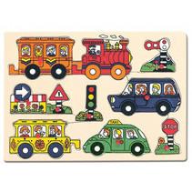 vormenpuzzel voertuigen junior 30 x 22,5 cm hout 9-delig