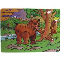 vormenpuzzel Beren junior hout bruin 5 stuks