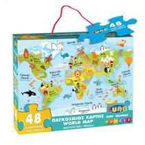 vloerpuzzel Wereldkaart junior 90 cm karton 48 stuks