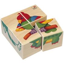 blokkenpuzzel Dieren junior 10 x 10 cm hout 4-delig