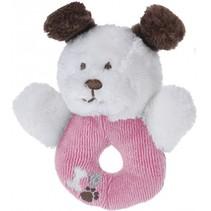 grijpring hondje pluche 12 cm roze/wit