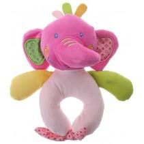 pluche rammelaar olifant paars/roze 16 cm