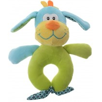 pluche rammelaar hond blauw/groen 16 cm
