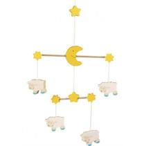 mobiel Schaap junior 22 x 35 cm hout geel/wit