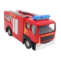Duitse brandweerwagen diecast pull-back 11 cm rood