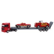 vrachtauto met oplegger met 2 wagens rood/grijs 24 cm
