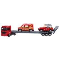 vrachtauto met oplegger met 2 wagens 24 cm rood/grijs