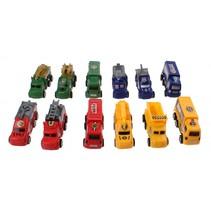 auto's bouw/politie/leger/brandweer 12-delig 8 cm