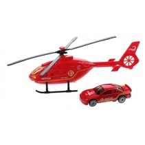 helikopter reddingsdienst diecast 18 cm rood 2-delig