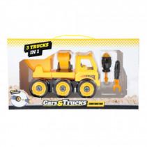 Cars&trucks 3 in 1 DIY jongens geel