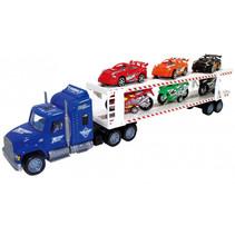 autotranssporter met raceauto's/motoren 57 cm blauw 7-delig