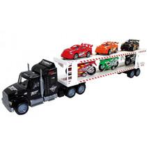 autotranssporter met raceauto's/motoren 57 cm zwart 7-delig