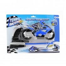 afschietmotor met rijder 12 cm blauw