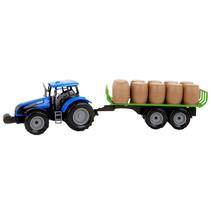 tractor met oplegger jongens 47 cm blauw/groen