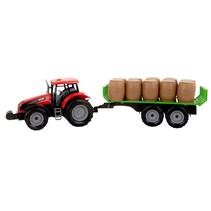 tractor met oplegger jongens 47 cm rood/groen