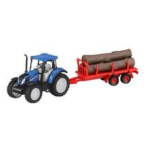 New Holland tractor met houtkar 35 cm blauw