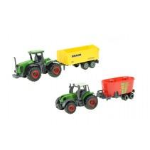 landbouwvoertuigen-set 4-delig 16 cm groen/rood/geel