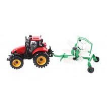 tractor met hooischudder 29 cm rood