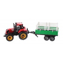 tractor met veewagen 29 cm rood