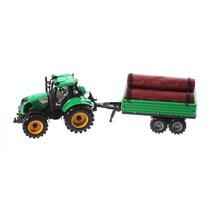 tractor met boomstammen 29 cm groen