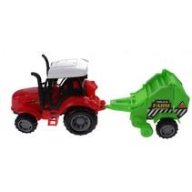 tractor met hooikar 30 cm groen/rood