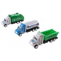 vrachtwagenset 12 cm blauw/groen 3 stuks