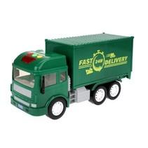 Vrachtwagen met licht en geluid groen 27 cm
