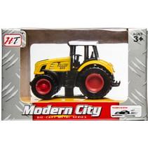 tractor Modern City pull back junior die-cast geel