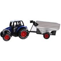 tractor met aanhanger 19 cm blauw