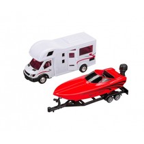 camper met speedboot op aanhanger 36 cm wit/rood