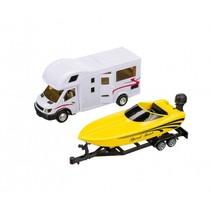 camper met speedboot op aanhanger 36 cm wit/geel