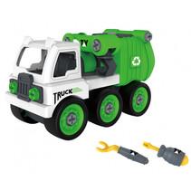 vuilniswagen junior 35 x 19 cm groen/wit driedelig