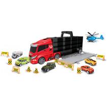 autotransporter City 42 cm zwart/rood 16-delig