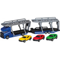 autotransporter Power Team 35 cm blauw 5-delig