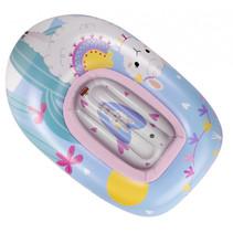 opblaasboot Alpaca junior 90 x 55 cm lichtblauw/roze